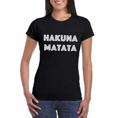 Hakuna matata tekst t-shirt zwart dames