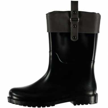 Half hoge dames regenlaarzen zwart met grijze omslag en gesp