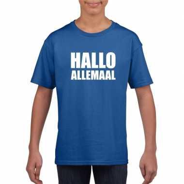 Hallo allemaal tekst blauw t-shirt voor kinderen