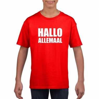 Hallo allemaal tekst rood t-shirt voor kinderen