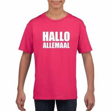 Hallo allemaal tekst roze t-shirt voor kinderen