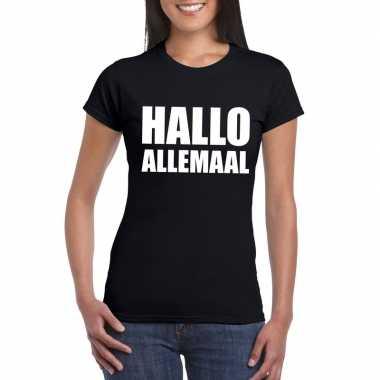 Hallo allemaal tekst t-shirt zwart dames