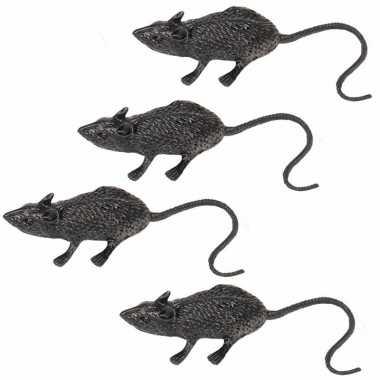 Halloween beestjes zwarte ratten 6 cm