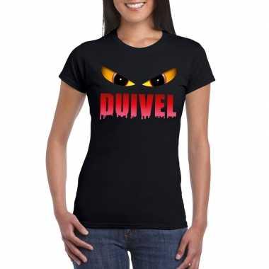 Halloween duivel ogen t-shirt zwart dames