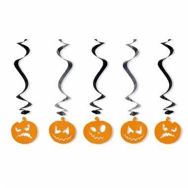 Halloween hangdeco pompoenen 5 stuks