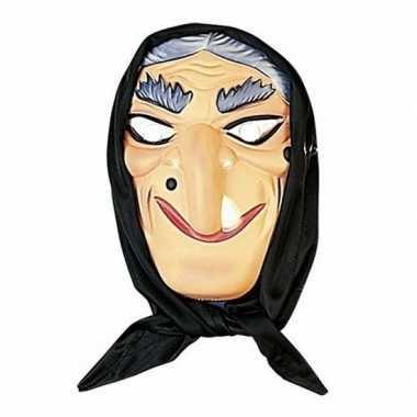 Halloween - heksen masker grijs haar met hoofddoek