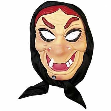 Halloween - heksen masker rood haar met hoofddoek
