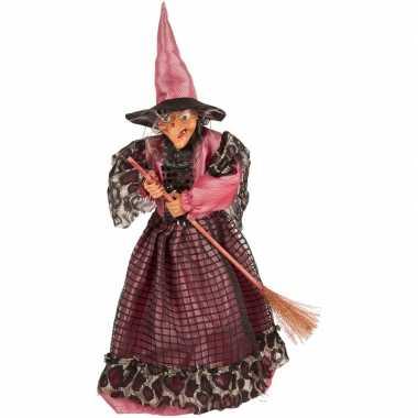 Halloween/horror versiering poppen fuchsia/zwart heksje 40 cm
