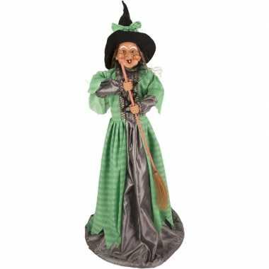 Halloween/horror versiering poppen groen heksje 70 cm