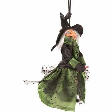 Halloween/horror versiering poppen groen/zwart heksje 25 cm