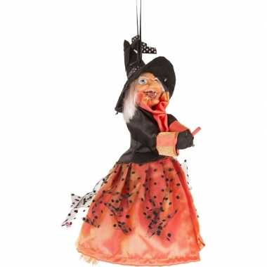 Halloween/horror versiering poppen oranje/zwart heksje 25 cm