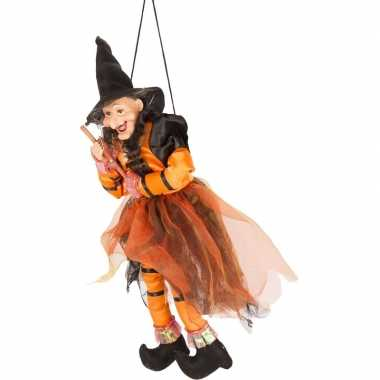 Halloween/horror versiering poppen oranje/zwart heksje 45 cm