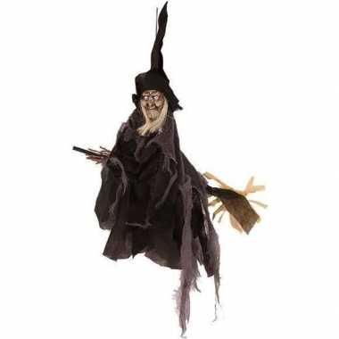 Halloween/horror versiering poppen zwart heksje 50 cm