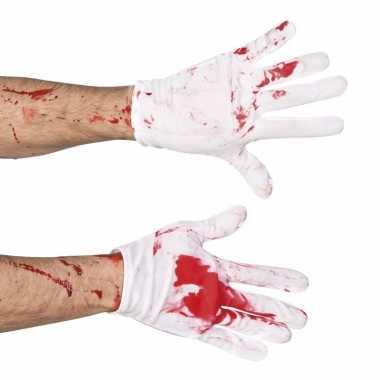 Halloween korte handschoenen met bloed