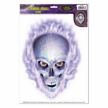 Halloween raamstickers schedel en vlammen