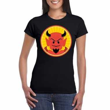 Halloween rode duivel t-shirt zwart dames