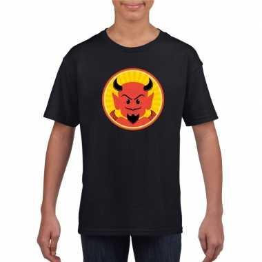 Halloween rode duivel t-shirt zwart kinderen
