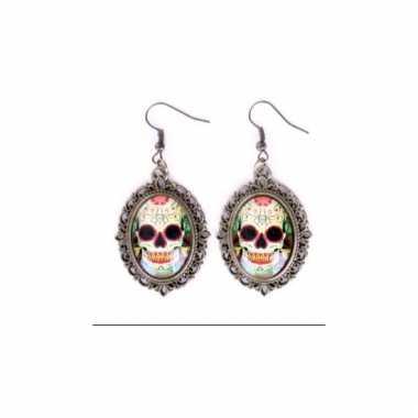 Halloween sugar skull oorbellen goud type 3
