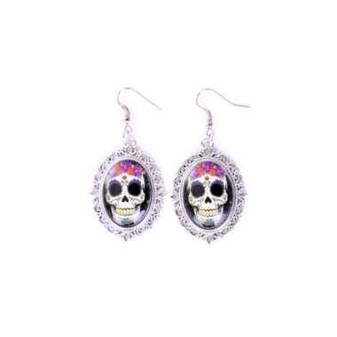 Halloween sugar skull oorbellen zilver type 2