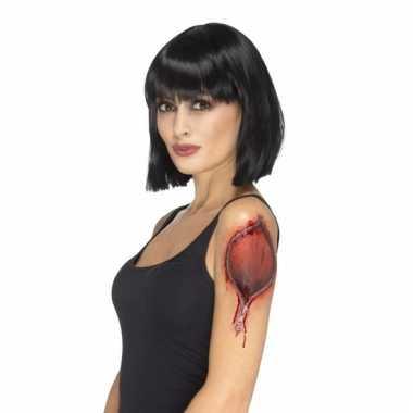 Halloween tatoeage gescheurde huid met rits