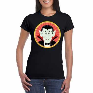 Halloween vampier/dracula t-shirt zwart dames
