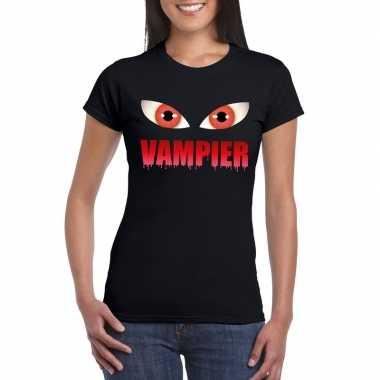 Halloween vampier ogen t-shirt zwart dames
