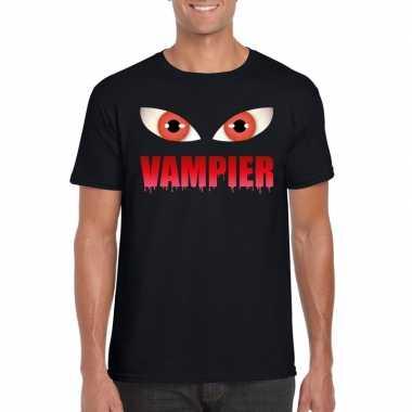 Halloween vampier ogen t-shirt zwart heren