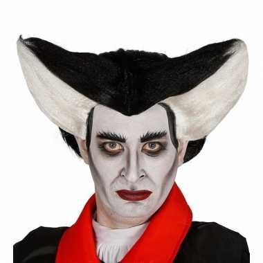 Halloween vampier pruik zwart met wit