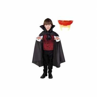 Halloween verkleedcape inclusief tanden vampier voor kinderen