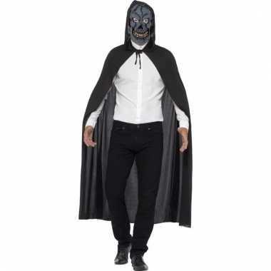 Halloween verkleedkleding cape met enge skelet masker