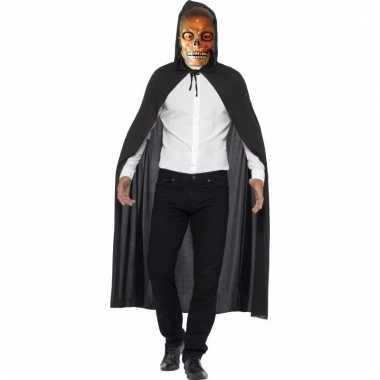 Halloween verkleedkleding cape met transparant skelet masker