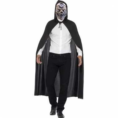 Halloween verkleedkleding cape met zombie dokter masker
