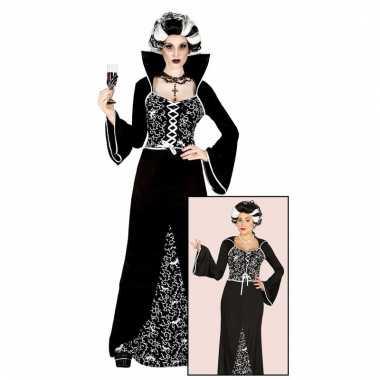 Halloween verkleedkleding draculajurk zwart/wit