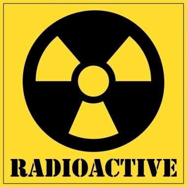 Halloween versiering radioactief gevaren sticker 10,5