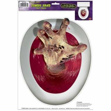 Halloween wc bril sticker zombie hand