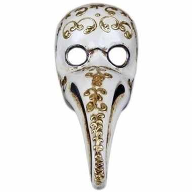 Halloween wit/gouden venetiaans snavel masker pestdokter