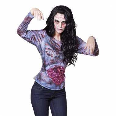 Halloween zombie shirt met ingewanden