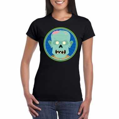 Halloween zombie t-shirt zwart dames