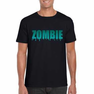 Halloween zombie tekst t-shirt zwart heren