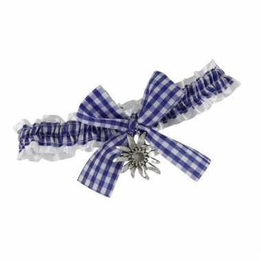 Halslint met strik en blauwe ruitjes motief