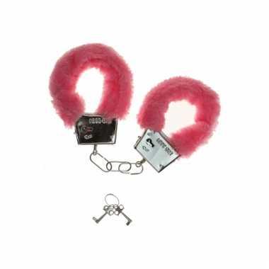 Handboeien met roze pluche