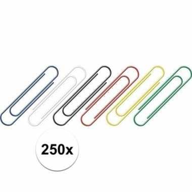 Handige gekleurde paperclips 250 stuks