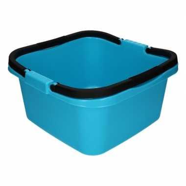 Handige teil / afwasteil met handvat lichtblauw 13 liter