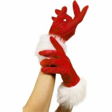 Handschoenen rood met bont