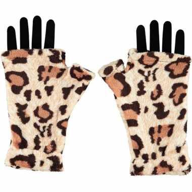 Handschoenen zonder vingers luipaard voor volwassenen