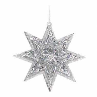 Hangdecoratie kerstster zilver 11 cm