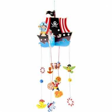 Hangdecoratie mobiel piratenschip 85 cm