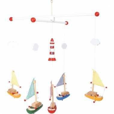 Hangdecoratie mobiel voor kinderen met zeilboten 39 cm