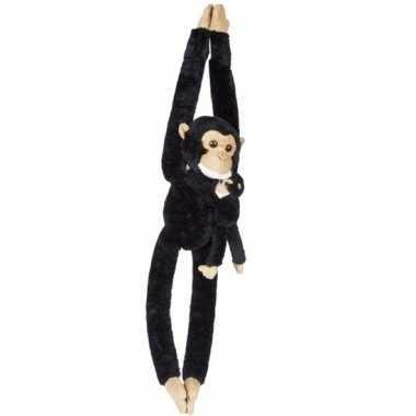 Hangende chimpansee met baby knuffels 84 cm