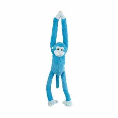 Hangende knuffel aap blauw 55 cm